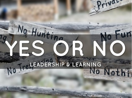 The Best Leadership Lesson is to help others learn for themselves. Will you say yes or no?
